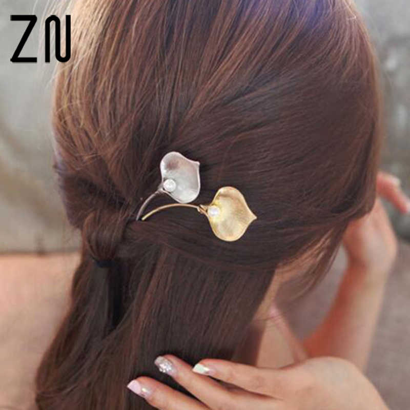 Simple Women Calla lily Imitation Pearl Metal Hair Clip Hairpin Turbante Bandeau Cheveux Femme Jewelry Accessories