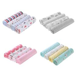 4pcs/set Baby Blankets Bedding Infants Bath Towel Bedsheet Cotton Cute Print Newborns Swaddle Wrap Receiving Blanket