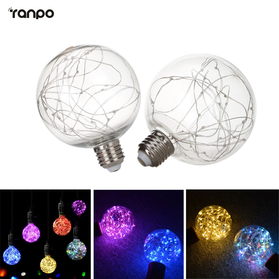 E27 Vintage Design Fairy LED Bulb G95 RGB String Light Filament LED Lamp For Decor Christmas Holiday Wedding lighting AC 220V smart bulb e27 7w led bulb energy saving lamp color changeable smart bulb led lighting for iphone android home bedroom lighitng