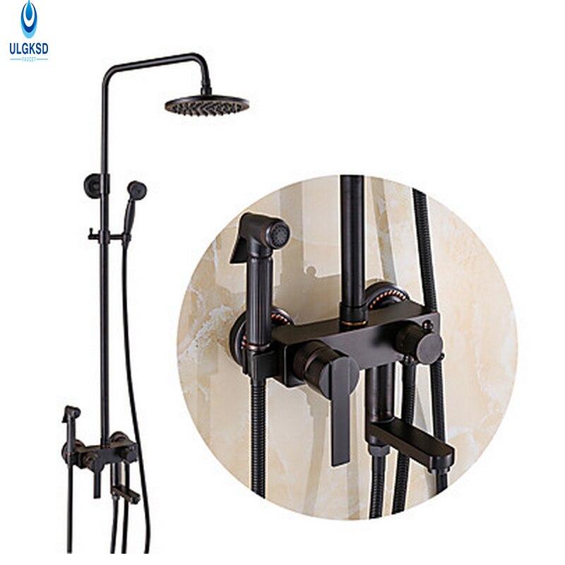 ULGKSD 8 Rainfall Shower Head Shower Faucet Black Brass W/ Tub Filter Biget Gun Hand shower Mixer Taps With Storage Basket