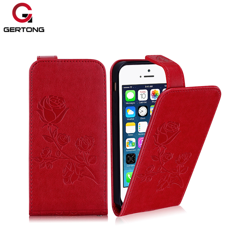 GerTong Phone Case For iPhone 4S 5 5S 6 6s 7 8 Plus Luxury Vintage PU Leather 3D Embossed Back Cover For iPhone 7 6 6s Plus Case