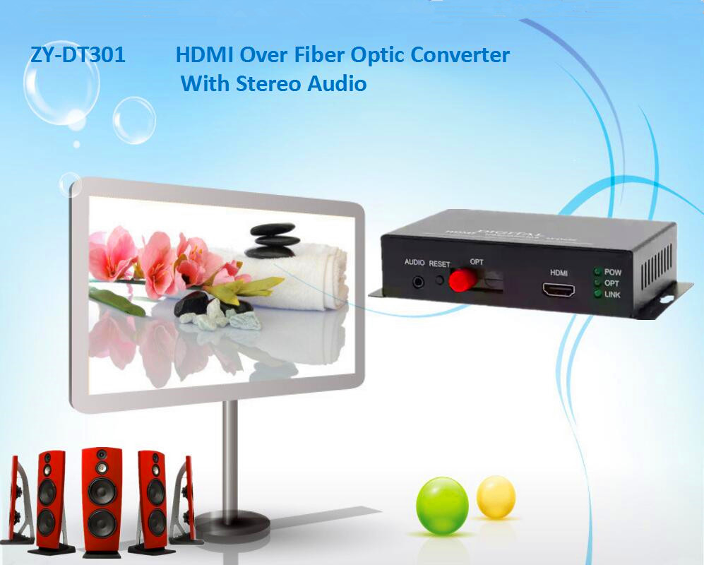 HDMI + Stereo Audio Signal Over Fiber Optic Converter 1080P HDMI Optical Video Transmission Extender 20km Over SC/FC Fiber Cable