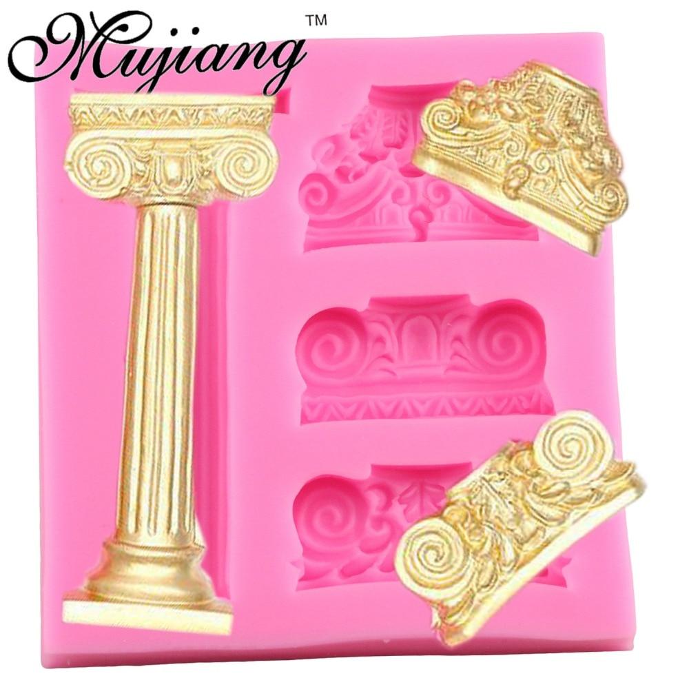 Mujiang romānikas pils reljefa kūka robežu silikona pelējuma fondanta kūka Dekorēšanas rīki šokolādes konfektes Fimo māla apmetuma veidnes