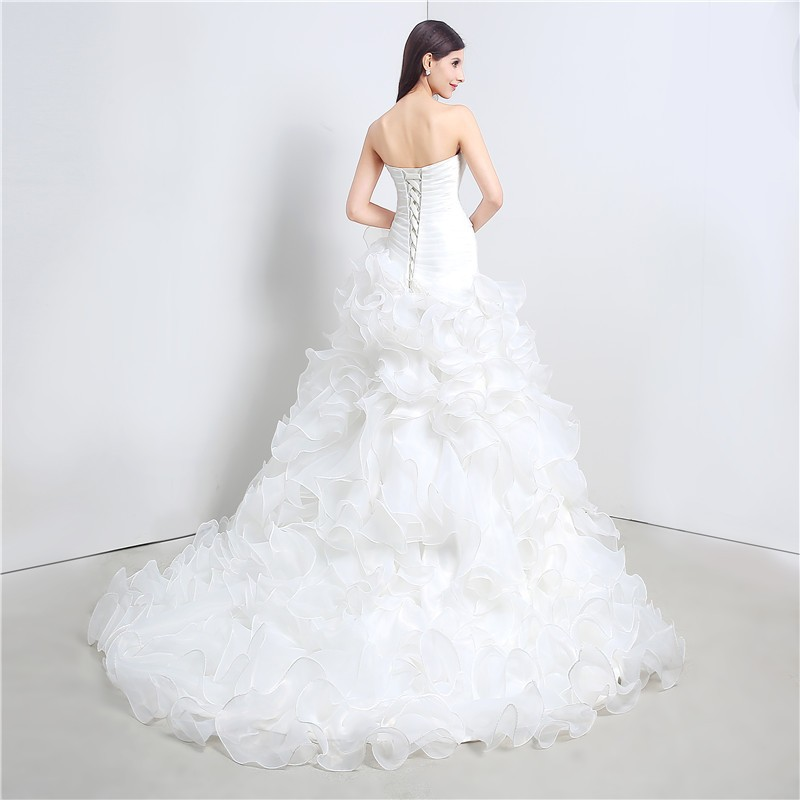 Sweetheart Cascading Ruffles Mermaid Wedding Dress 2