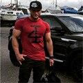 2016New Irmãos Musculares Algodão T-shirt Slim fina de verão Da Marca T-shirt dos homens de Fitness Musculação Longarina