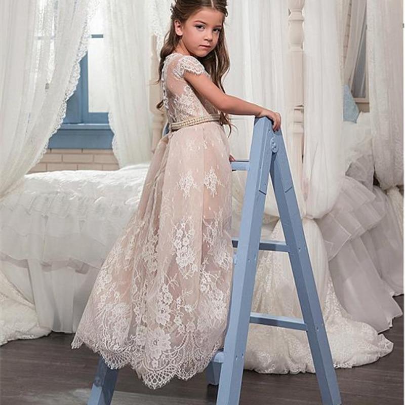 Платье с цветочным узором для девочек, платье без рукавов с кружевной аппликацией, детское платье из тюля для торжеств, платье для первого п...