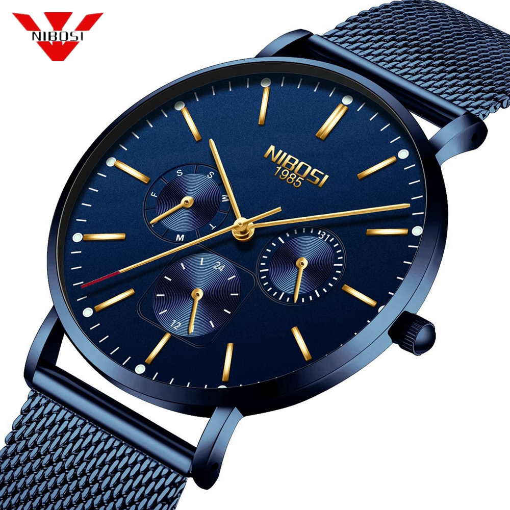 NIBOSI Ultra Thin Mens Watches Top Luxury Brand Blue Watch Men Simple Sports Quartz Watch Male Stainless Clock Relogio Masculino