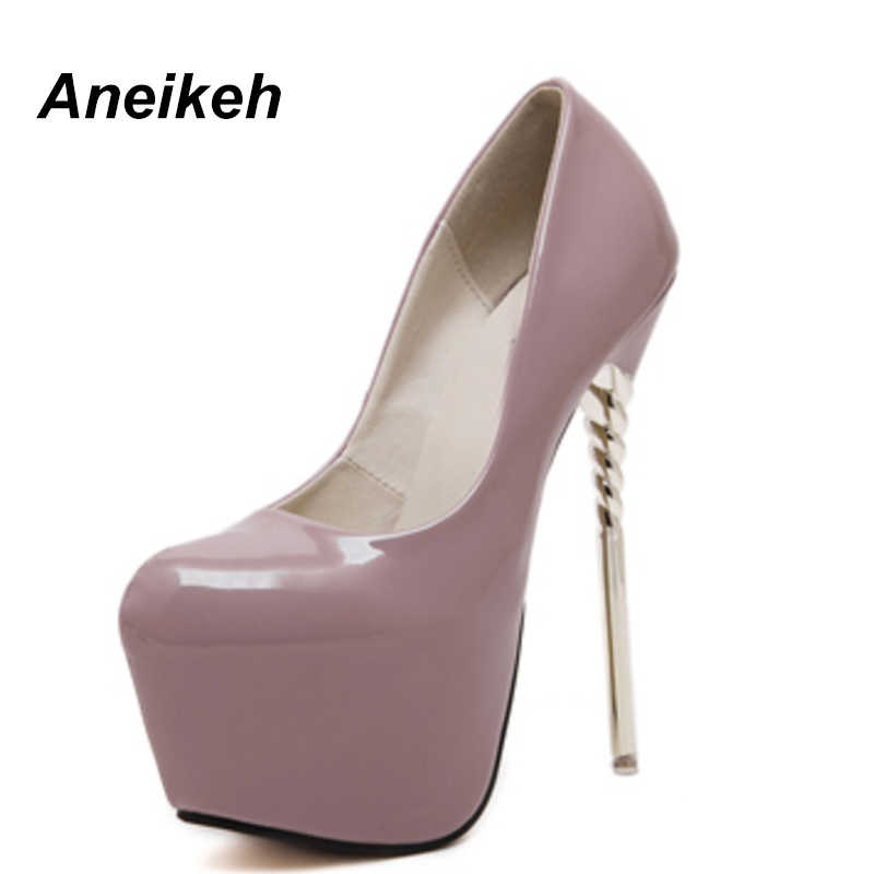 2a178d13fae Aneikeh HOT New Sexy Women Pumps 16CM Round Toe High Heels Women Shoes  Stilettos Party Patent Leather Shoe Size 34 - 40