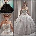 2017 Blanco Barato Vestidos de Quinceañera Balón vestido de Baile Vestidos con Bordados de Oro Listones Debutante Vestidos para 15 Años