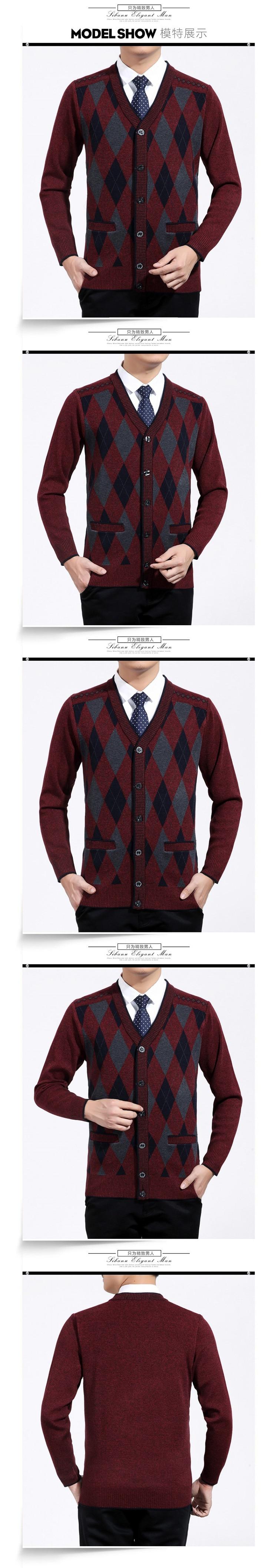 Man Woollen Cashmere Cardigan Sweaters Textured Knitted Sweater Men V-neck Cardigan Elegance Knitwear Business Casual Wear (6)