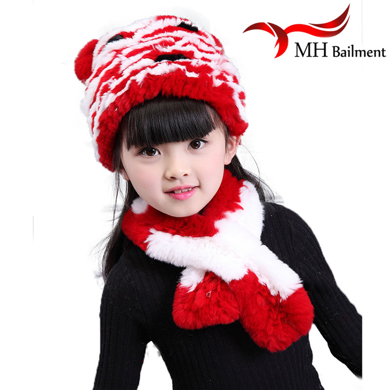 NEW Children Rabbit Fur Knitted Hat Winter Warm Fur Hats Scarf Boys Grils Real Fur Beanies Cap Natural Fur Hat For Kids H#26 wool 2 pieces set kids winter hat scarves for girls boys pom poms beanies kids fur cap knitted hats