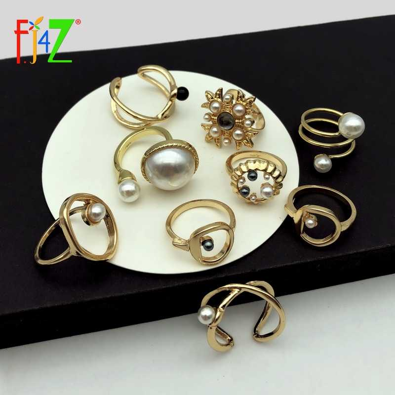 F.J4Z Fashion Designer Finger Ring for Women Rock Geometric Top Rings Simulated Pearl Popular Rings Jewelry anillos de mujeres