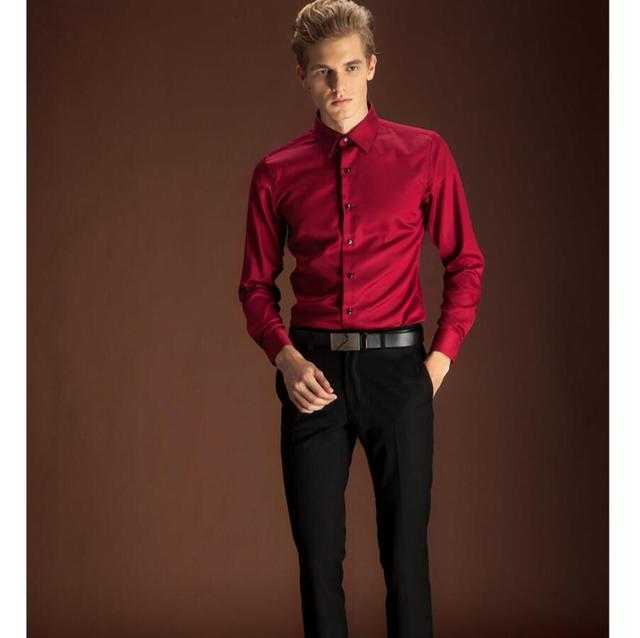 Wine red men's shirts single-breasted festive wedding bridegroom handsome men's shirt fashion high quality business suit shirt