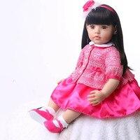 60 см Reborn Baby Doll Soft Touch реалистичные модная детская подарок на день рождения для девочки с прямыми волосами принцессы Куклы