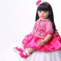 60 Cm Reborn Baby Doll Soft Touch Lifelike Fashion Children Birthday Gift For girl With Straight Hair Princess Dolls