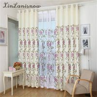 White New Linen Pure Color Embroidery Flower Thickened Shading Curtains For Living Dining Room Bedroom