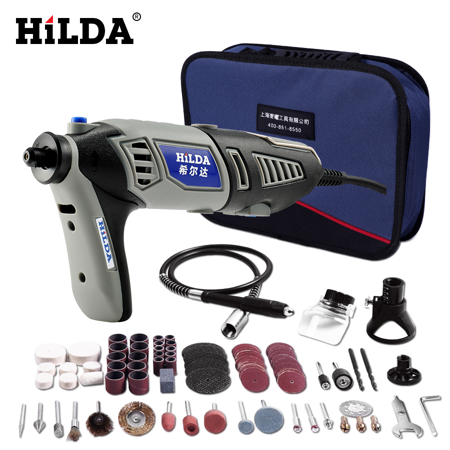 HILDA 220 V 180 W Dremel stil Elektrische Rotary Power Tool Mini Bohrer mit Flexible Welle 133 stücke Zubehör Set lagerung Tasche