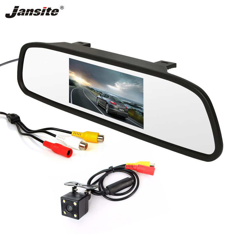 Jansite 4.3 inches Car Monitor TFT LCD white Car Rear View monitor Parking Rearview System for Night Vision LED Reverse Cameras