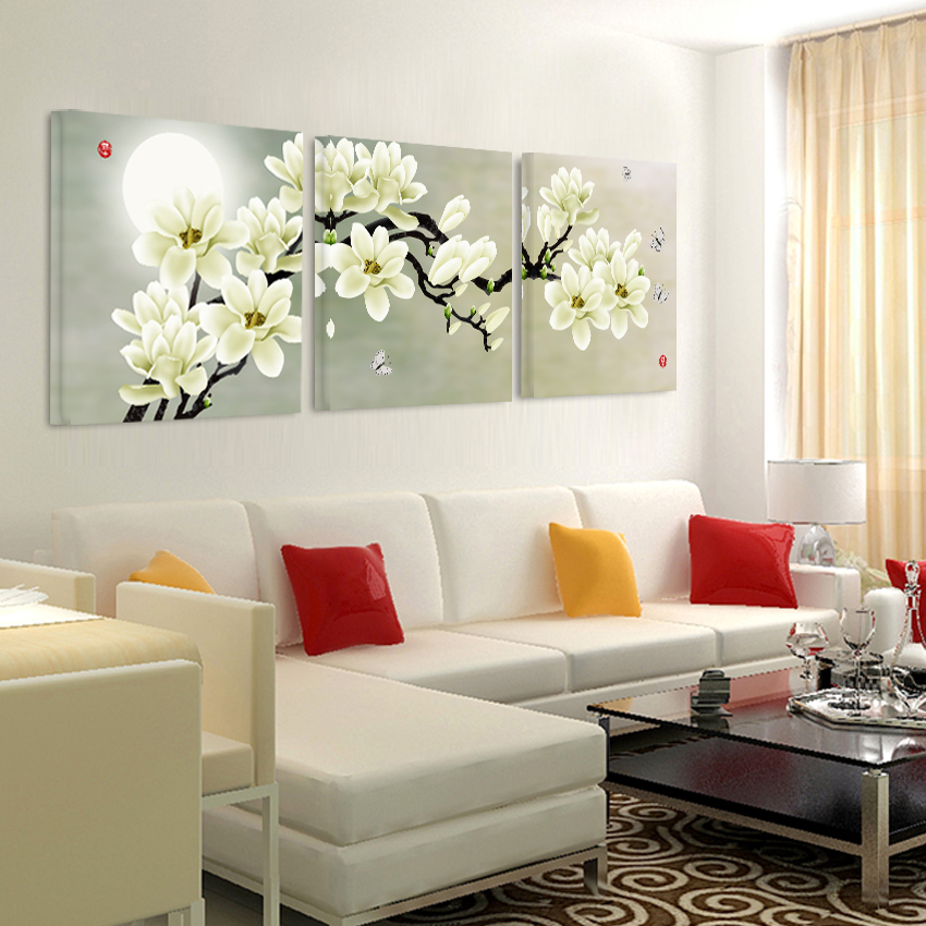Canvas painting on print flowers Painting the wall bedroom ...
