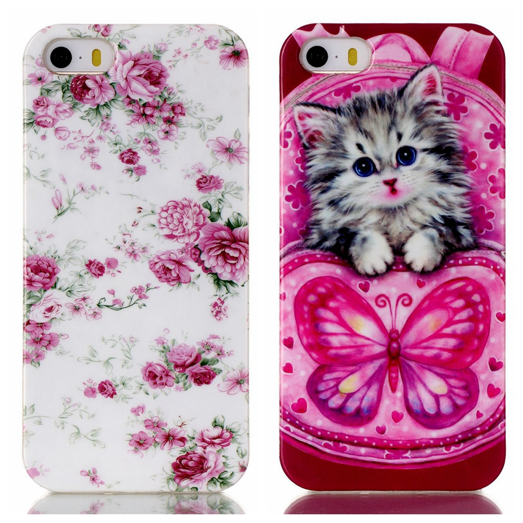 for iPhone 5 5s Phone Case Cartoon Cat Dog Macaroons Cute Girl Beautiful Flower Butterfly Soft Back Cover for iPhone SE