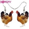 Bonsny акриловые цветочные серьги в виде курицы, большие длинные висячие капли, новинка, украшения в виде птицы на ферме для женщин и девочек, М...