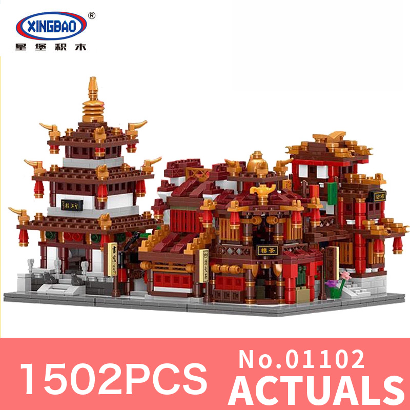 XingBao 01102 1502Pcs Zhong Hua Street Serie 4 in 1 The Teahouse Library Cloth House Wangjiang Tower Set Building Blocks Brick кофеварка redmond rсm 1502