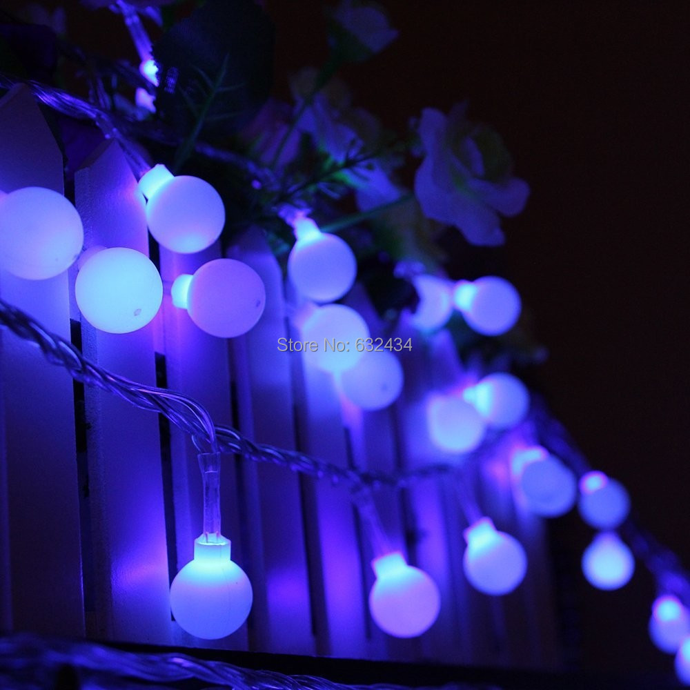 C S Unique 20 Led Ball Solar Powered String Lights Purple