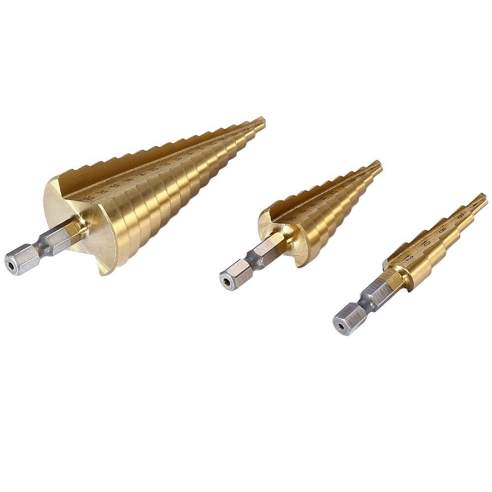 4-12mm/4-20mm/4-32mm HSS 4241 Acciaio Grande Passo Cone titanio Rivestito In Metallo Drill Bit Set Cut Strumento Hole Cutter