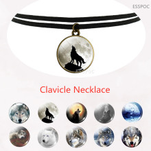 Black Clavicle Necklace Wolf and Howling Glass Dome Pendant  Gift for Men Women