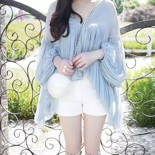 lantern sleeve 100% silk ruffles blouse shirt for women blue white color high quality 2017 new fashion