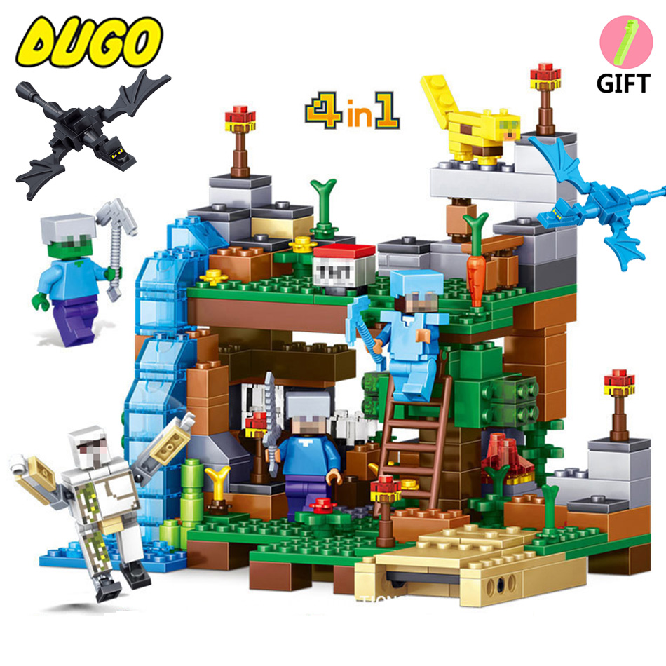 MY WORLD Kids Birthday Toys Compatible Legoe Minecraft Figures City Building Block Bricks Set Educational Toys For Children Gift lepin 24021 city creator 3 in 1 island adventures building block 379pcs diy educational toys for children compatible legoe