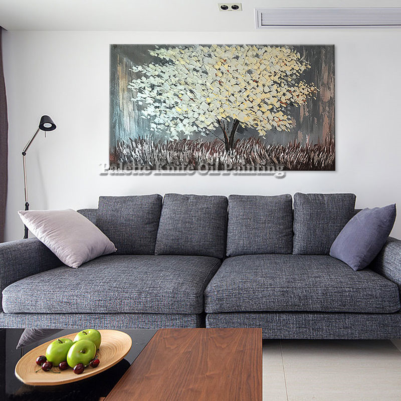 Painting of Modern Hand Painted palette knife 3D texture Flower Tree - Home Decor - Photo 2