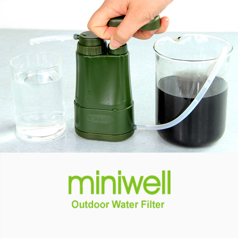 miniwell camping hiking survival kit portable water filter system for hiking,camping,emergency,disater