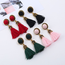 Elegant Vintage Tassel Earrings Female Bohemia Red Fringed Drop Earrings for Women Jewelry Gifts 2019