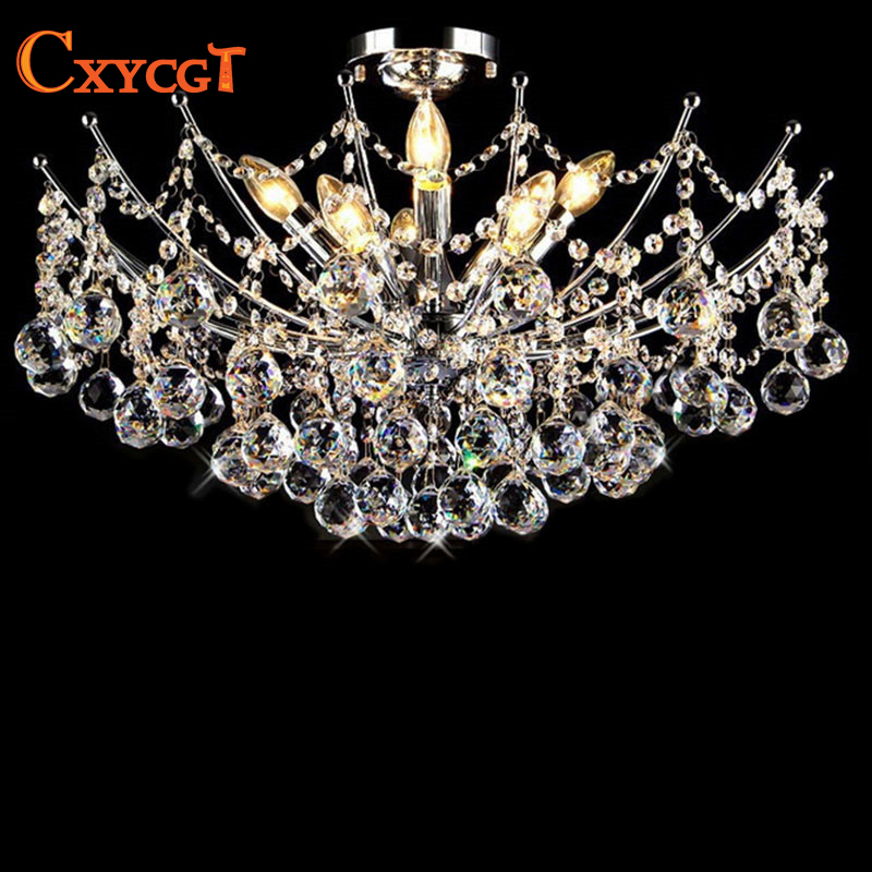 Luxury Lustre Vanity Modern Crystal Chandelier Lighting Fixture Chrome Finish LED Ceiling Lamp for Dining Room Restaurant