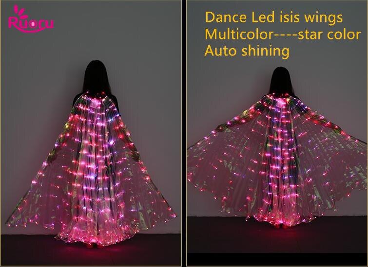 Ruoru Stella Multicolore Led Isis Ali con Azienda Bastoni Belly Dance Stage Performance Club Luce Up Costume Props 360 Aperto