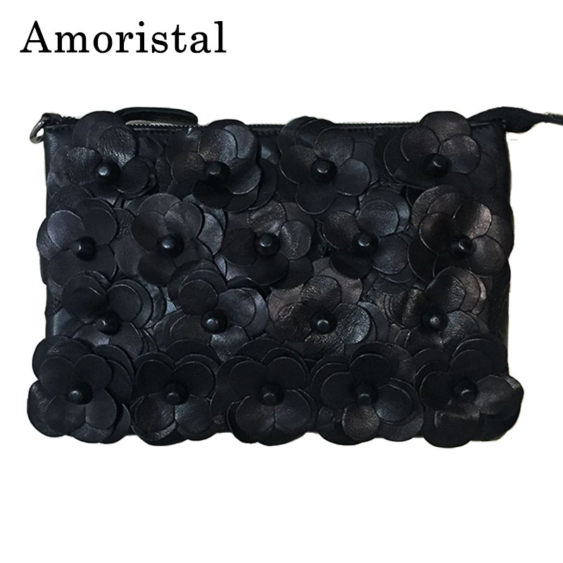 Women Clutch Bags Sheepskin Leather Handbag Casual Genuine Leather Flowers Envelope Bag Shoulder Messenger Bags B275 women day clutch genuine leather envelope bag banquet women handbag vintage cowlayer messenger bag