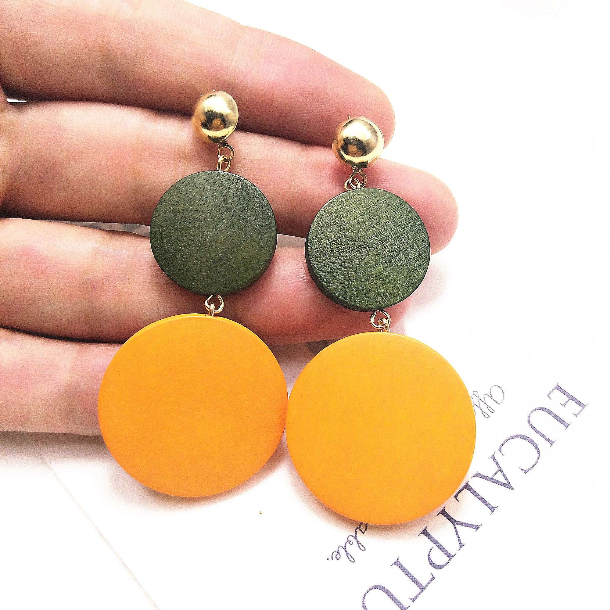 New Luxury Big Round Earrings 2019 Fashion Korean Dangle Drop Earrings For Women Long Gold Statement Earrings