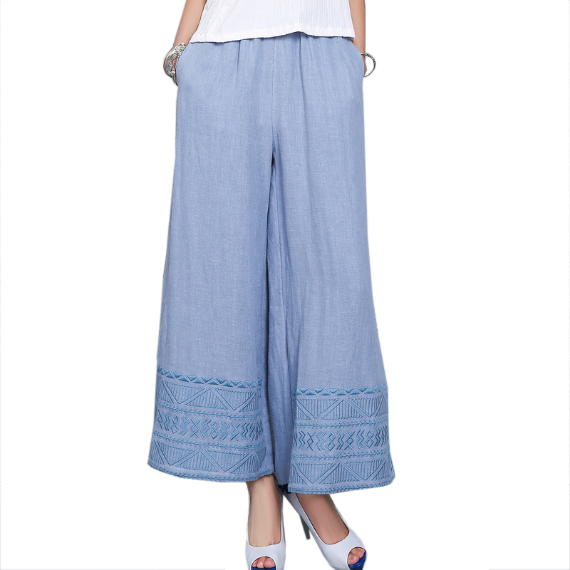 New Blue Women Ethnic Chinese Trousers High Quality Geometric   Wide     Leg     Pants   Cotton Linen Elastic Waist Long   Pant   L-XL