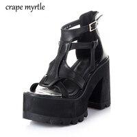 Gladiator Sandals Women Shoes High Heels Black Sandals Summer Sandalia Salto Alto Sandals For Women Platform