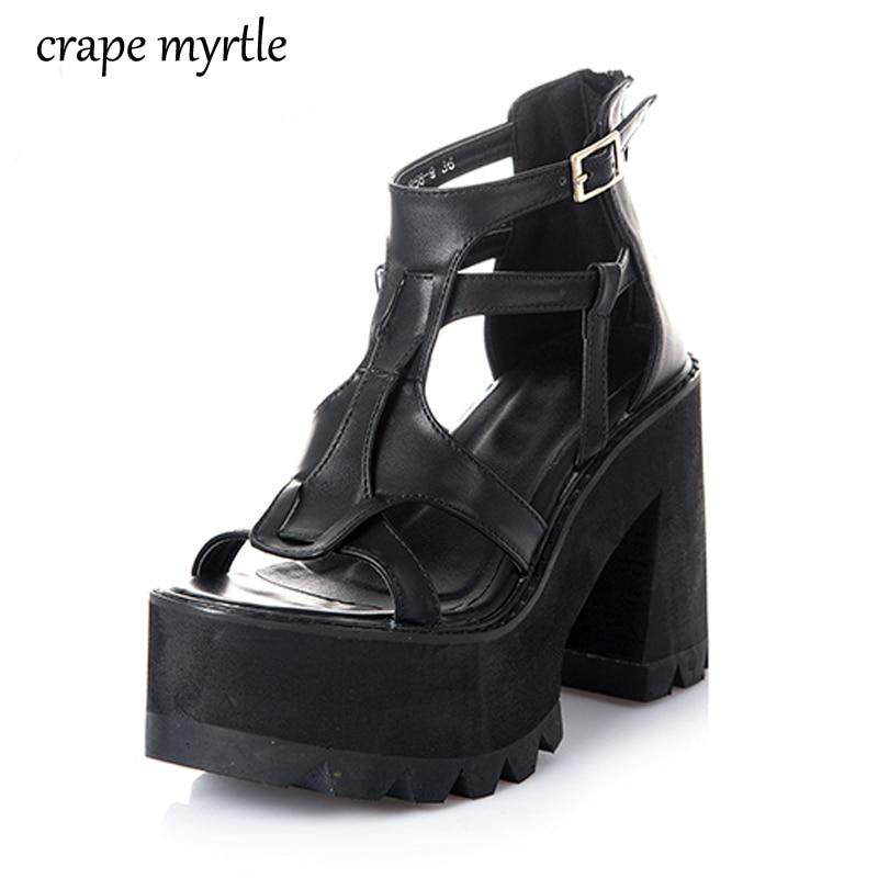 gladiator sandals women shoes High Heels black Sandals summer sandalia salto alto sandals for women platform punk Sandals YMA162 sandals mandel sandals