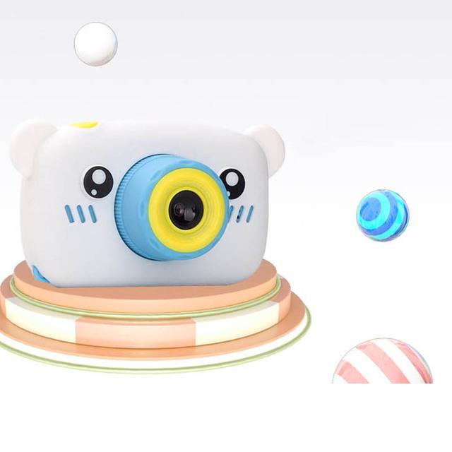 HobbyLane Portable Children 1300W HD Digital Camera Cute Cartoon Bear Shape 2 Inches IPS Screen Mini Camera Toy Gift For Kids