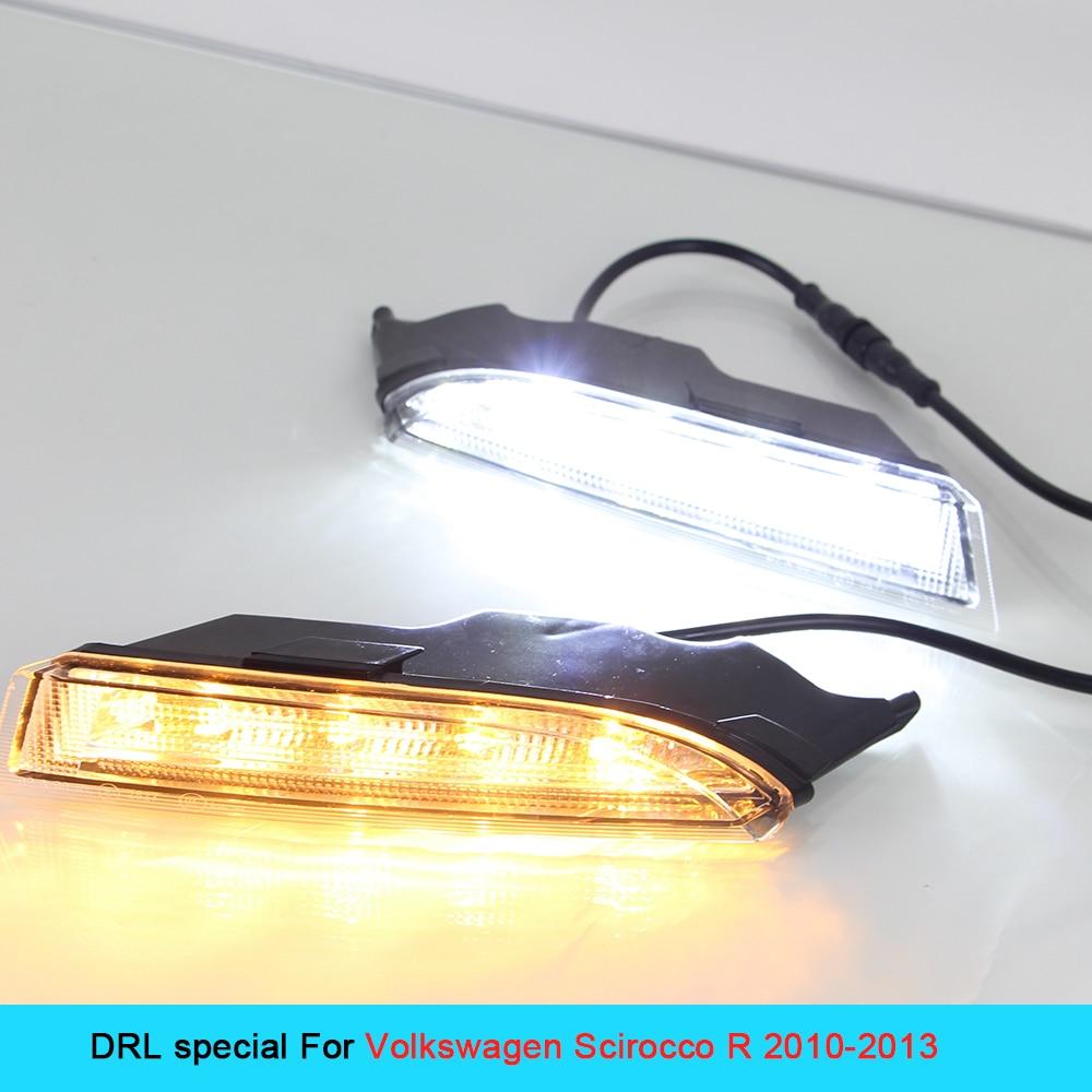 LED DRL for VOLKSWAGEN SCIROCCO 2010~2013 Daytime Running lights External daylight turn signal light fog lamps cree 12V car drl