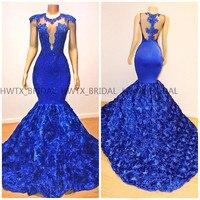 Платье с юбкой годе Королевского синего цвета вечернее платье 2019 Обнаженная Вернуться Винтаж кружева 3D цветы африканского черного девочек