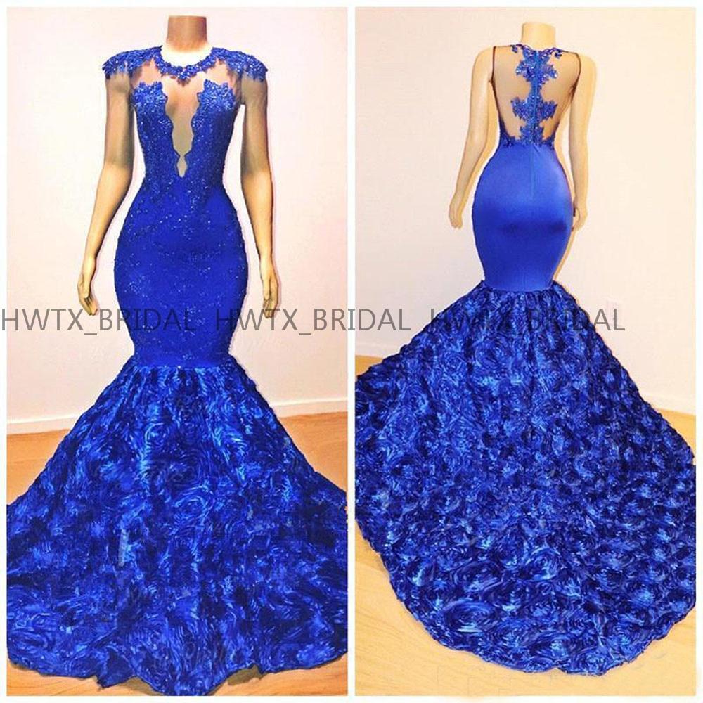 Robe de soirée sirène bleu Royal 2019 dos nu Vintage dentelle 3D fleurs africain noir filles robes de soirée formelles robes de bal
