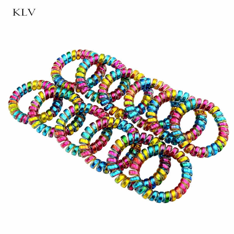 10Pcs Colorful Telephone Wire Cord Line Gum Holder 5.5cm Elastic Hair Band Tie Daily Hair Accessories