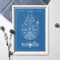 Star Wars Invention Poster Millennium Falcon Patent Art Poster Blueprint Canvas Painting Poster And Print Wall Art Home Decor