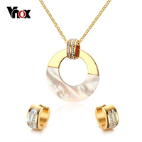 Vnox Shell Wedding Jewelry Sets For Brides Gold Plated Stainless Steel Crystal Round Jewelry Sets For