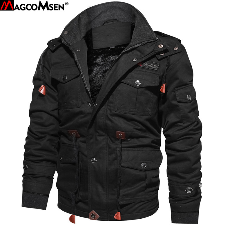 MAGCOMSEN Jacket Men Winter Bomber Jacket Coat Army Men's Pilot Coats Hooded Casual Military Cargo Jacket Hoodies AG SSFC 42-in Jackets from Men's Clothing    1