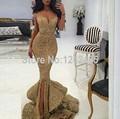 Sexy querida ouro Sequins cintas de espaguete vestido de noite andar de comprimento vestidos formais longos vestidos de noite QM66